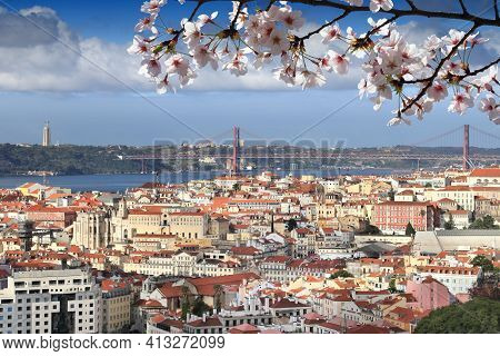 Spring In Portugal. Spring Time Cherry Blossoms In Lisbon City, Portugal.