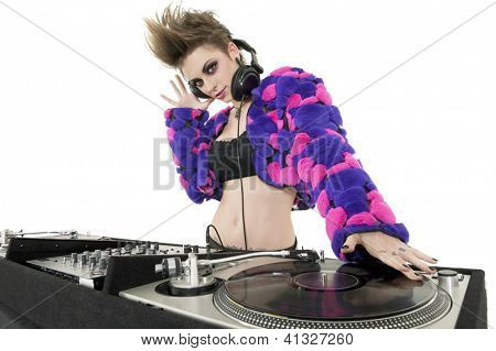 Beautiful DJ over white background