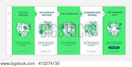 Dieting Patterns Onboarding Vector Template. Intermittent Fasting Strategies. The Warrior Diet. Resp