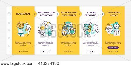Dieting Benefits Onboarding Vector Template. No Belly Fat. Cancer Prevention. Anti Aging Effect. Res