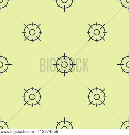 Blue Target Sport Icon Isolated Seamless Pattern On Yellow Background. Clean Target With Numbers For