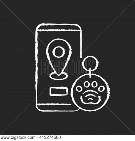 Nfc And Rfid Pet Tags Chalk White Icon On Black Background. Provide All Important Data About Your Pe