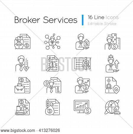 Broker Service Linear Icons Set. Online Stock Trading. Intellectual Property. Sponsorship Broker. Cu
