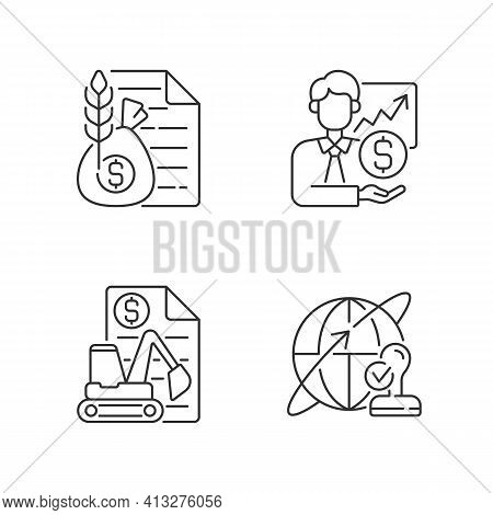 Intermediary Services Linear Icons Set. Commodity Broker. Sponsorship, Stock Trading. Equipment Leas