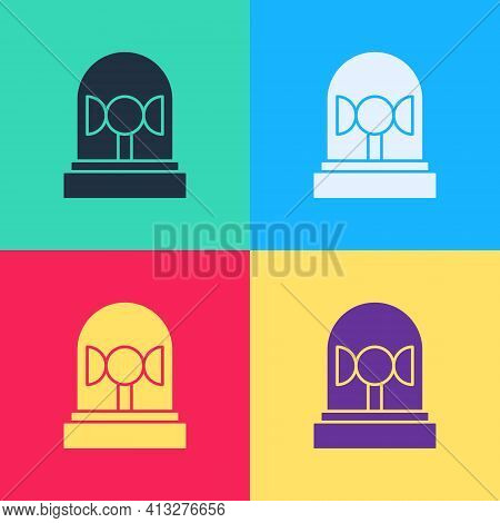 Pop Art Flasher Siren Icon Isolated On Color Background. Emergency Flashing Siren. Vector