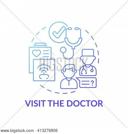 Visit The Doctor Blue Gradient Concept Icon. Therapist Appointment. Primary Care, General Practition
