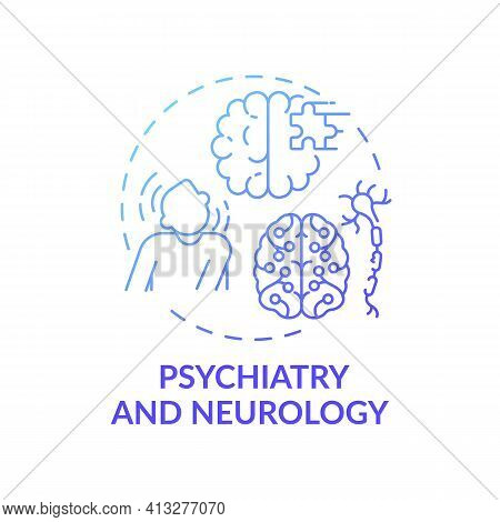 Psychiatry And Neurology Blue Gradient Concept Icon. Mental Disorder. Problem With Brain Health. Med