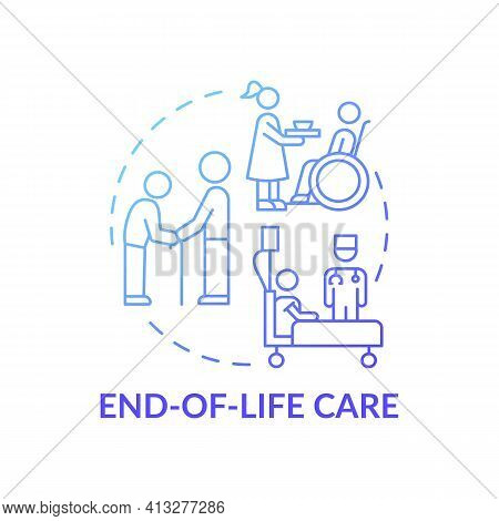 End-of-life Care Blue Gradient Concept Icon. Nursing Center For Patients With Terminal Illness. Fami