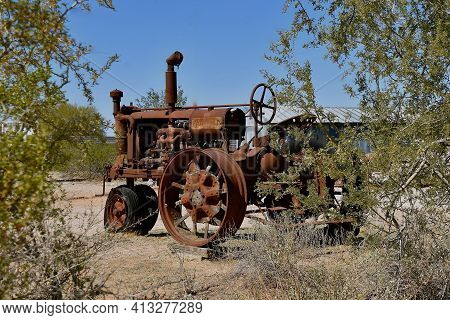 Maricopa, Arizona, February 26, 2021:  The Old F-12 Tractor Is A Farmall, A Model Name And Later A B
