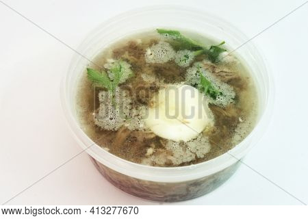 A With Meat, Eggs And Fresh Parsley, Made With Thick Rich Nutritious Bone Broth, Frozen In Round Tra