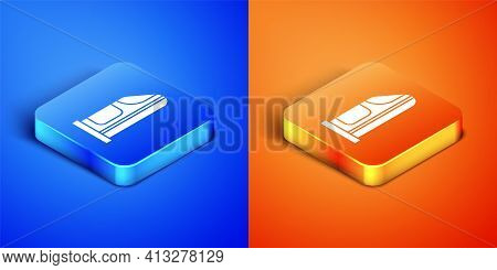 Isometric High-speed Train Icon Isolated On Blue And Orange Background. Railroad Travel And Railway