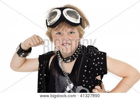 Portrait of punk kid showing fist over white background
