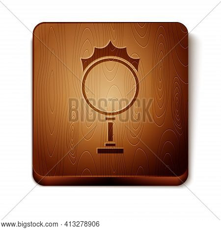 Brown Circus Fire Hoop Icon Isolated On White Background. Ring Of Fire Flame. Round Fiery Frame. Woo