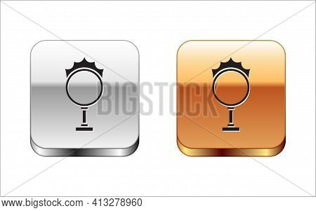Black Circus Fire Hoop Icon Isolated On White Background. Ring Of Fire Flame. Round Fiery Frame. Sil