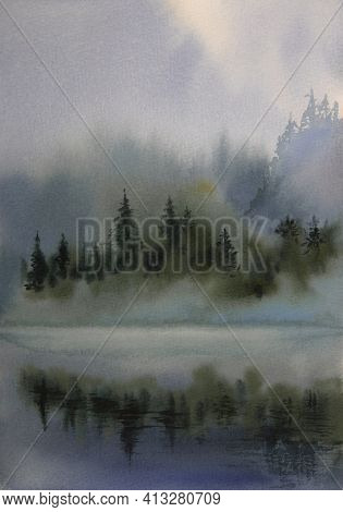 Watercolor Landscape Fog, Mountains, Fir Trees. Trees In The Fog Are Reflected In The Water. Mystica