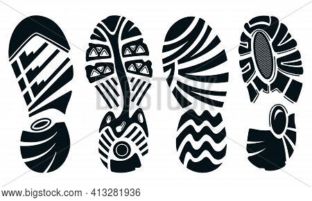 Silhouette Of Sport Running Shoes Isolated On White. Footprint Of Shoe Sole.