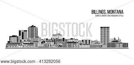 Cityscape Building Abstract Simple Shape And Modern Style Art Vector Design -  Billings City, Washin