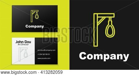 Logotype Line Gallows Rope Loop Hanging Icon Isolated On Black Background. Rope Tied Into Noose. Sui