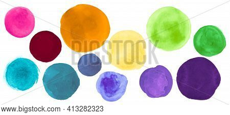Brush Watercolor Circles. Set Of Hand Paint Art Blots. Stroke Rounds Background. Colorful Watercolor