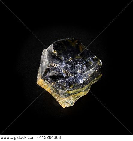 Jet Gemstone Mineral From Isolated On Black Background. For Geology Mineralogy Magazines Websites Ar