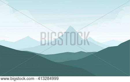 Vector Illustration: Flat Graphic Mountains Landscape With Peak