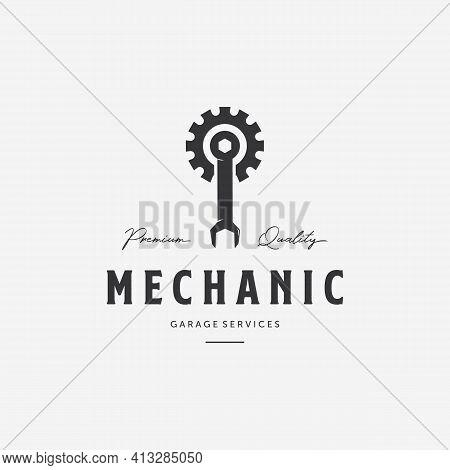 Gear Wrench Spanner Piston Vintage Logo. Minimalist Illustration Of Mechanical Garage Shop Vector. D