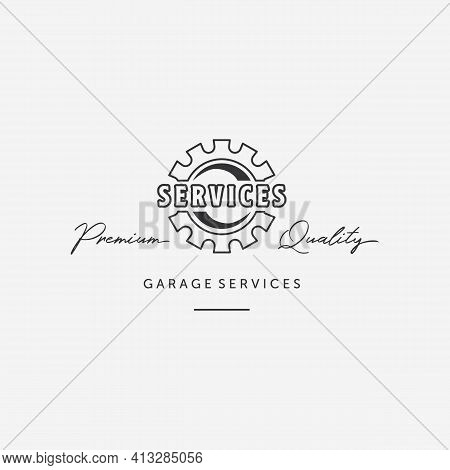 Simple Line Art Gear Automotive Logo, Design Of Mechanical Engineering Of Auto Services, Illustratio