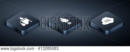 Set Isometric Full Dustbin, Co2 Emissions Cloud And Tree Icon. Vector