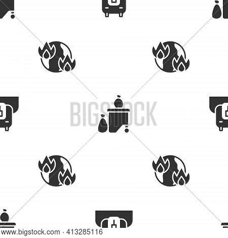 Set Polar Bear Head, Full Dustbin And Global Warming Fire On Seamless Pattern. Vector