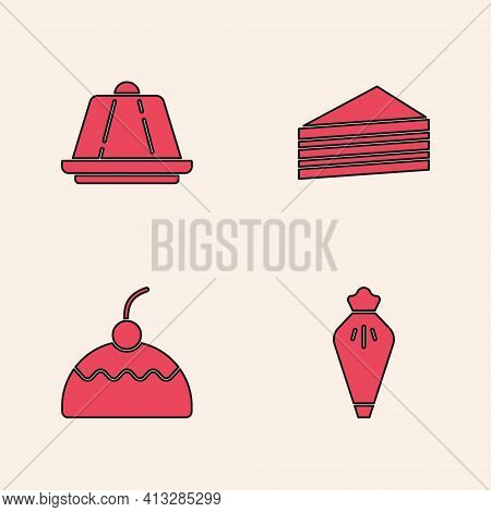 Set Pastry Bag, Pudding Custard, Cake And Icon. Vector