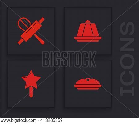 Set Homemade Pie, Kitchen Whisk And Rolling Pin, Pudding Custard And Lollipop Icon. Vector