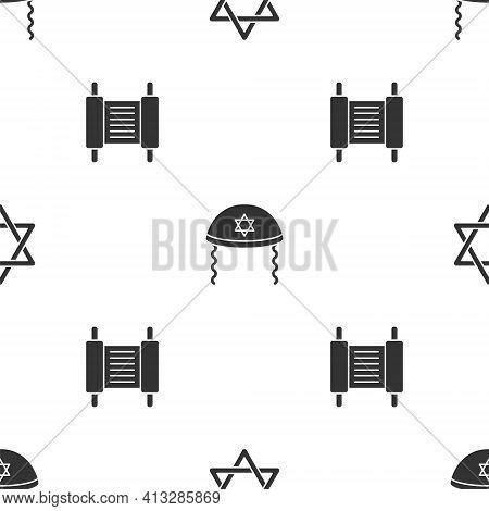 Set Star Of David, Jewish Kippah And Torah Scroll On Seamless Pattern. Vector