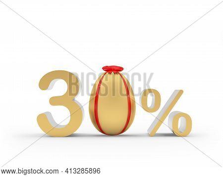 Thirty Percent Discount With A Golden Easter Egg Decorated With A Red Ribbon. 3d Illustration