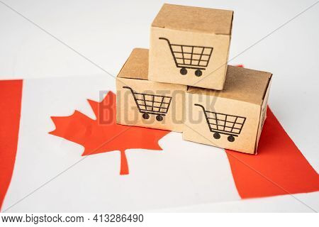 Box With Shopping Cart Logo And Canada Flag, Import Export Shopping Online Or Ecommerce Finance Deli