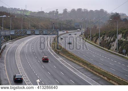 Coronavirus Causing Empty Highways. Free Motorway During The Covid-19 Quarantine, Dublin, Ireland, J