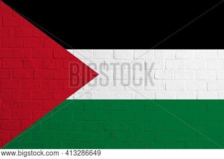 Flag Of Palestinian State. Brick Wall Texture Of The Flag Of Palestinian State.