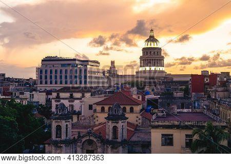 Skyline Of Havana, Or Habana, The Capital Of Cuba, At Dusk