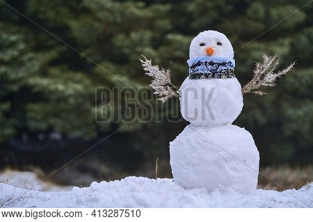 Funny Snowman Made Of Branches, Carrot, Buff And Rocks In Ticknock Forest National Park, Co. Dublin,