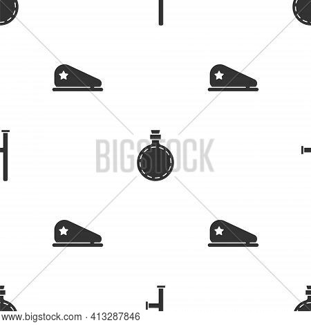 Set Police Rubber Baton, Canteen Water Bottle And Military Beret On Seamless Pattern. Vector