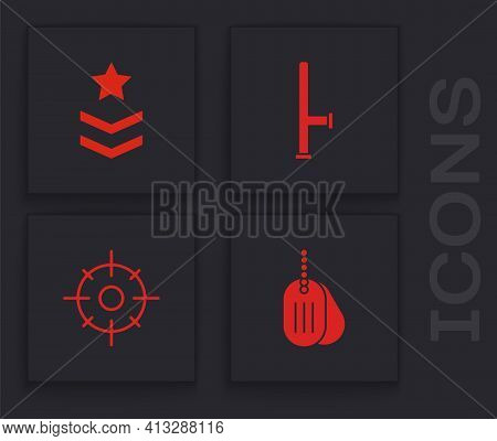 Set Military Dog Tag, Rank, Police Rubber Baton And Target Sport Icon. Vector