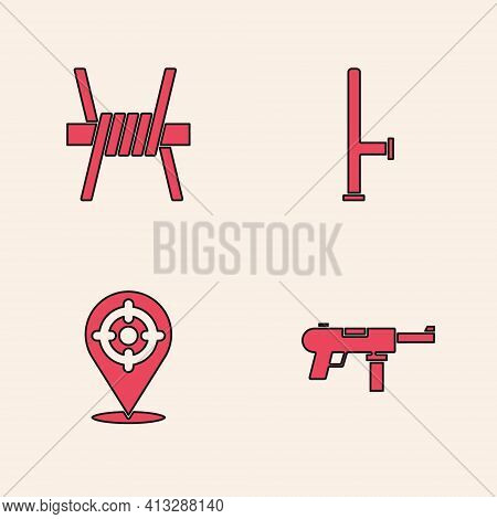 Set Submachine Gun M3, Barbed Wire, Police Rubber Baton And Target Sport Icon. Vector