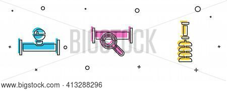 Set Industry Pipe And Manometer, Metallic And Toilet Brush Icon. Vector