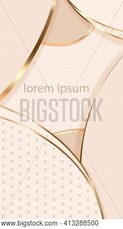 Abstract Background In Shades Of Ivory With Gold