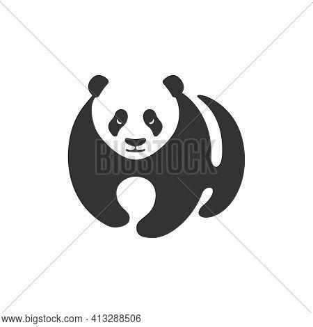 Panda Graphic Icon. Panda Stylized Sign Isolated On White Background. Bamboo Bear Symbol. Vector Ill