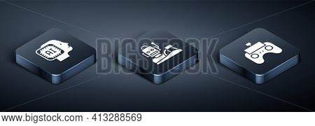 Set Isometric Humanoid Robot, Remote Control And Robot Humanoid Driving Car Icon. Vector