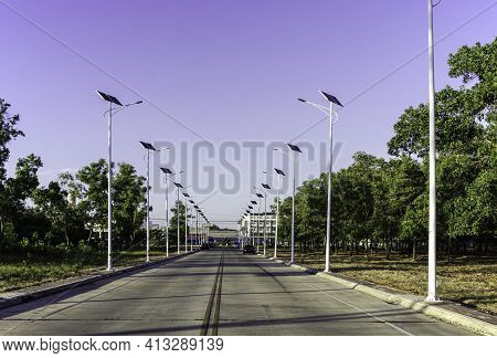 Solar Cell Lighting Bulb With Green Trees On The Road