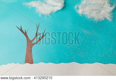 Childrens Application Of Colored Paper And Cardboard. Winter. Lonely Tree , Foliage, Clouds In The S