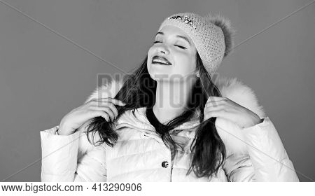 Cold Season. Woman In Padded Warm Coat. Happy Winter Holidays. Its Christmas. Flu And Cold. Seasonal