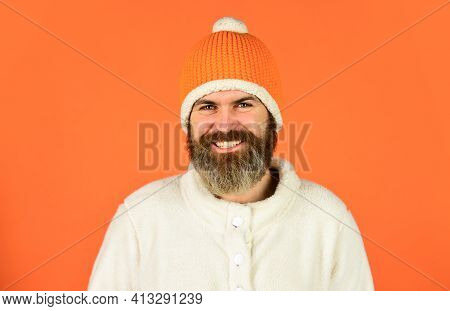 Real Feelings. Funky Happy Bearded Man. Mature Man Posing With Funny Outfit. Man Beard In Winter Hat