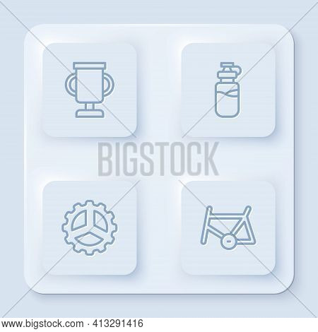 Set Line Award Cup With Bicycle, Sport Bottle Water, Bicycle Sprocket Crank And Frame. White Square